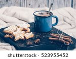 christmas composition with... | Shutterstock . vector #523955452