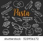 hand drawn italian pasta set....   Shutterstock .eps vector #523956172