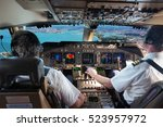 the cockpit of modern jet... | Shutterstock . vector #523957972