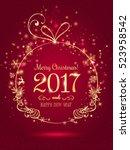 gold christmas ball for merry...   Shutterstock .eps vector #523958542