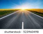 empty asphalt road and floral...   Shutterstock . vector #523960498