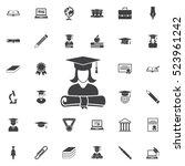 Graduation Cap And Girl Icon....