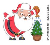 santa claus watering the... | Shutterstock .eps vector #523961368