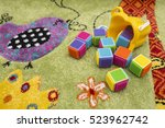 colorful cubes fallen out of a... | Shutterstock . vector #523962742