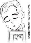 student falling asleep  contour ...   Shutterstock .eps vector #523964896