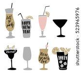 Set of hand drawn alcoholic drinks, cocktails with lettering quotes. Happy New Year celebration concept. Isolated vector icons. | Shutterstock vector #523965976