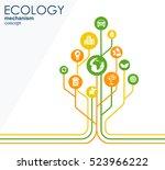 ecology mechanism concept.... | Shutterstock .eps vector #523966222