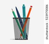 Pen And Pencil In Holder Baske...