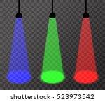 three spotlights  red  green ... | Shutterstock .eps vector #523973542