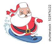 santa claus surfing  vector...   Shutterstock .eps vector #523976122