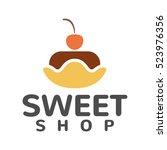 cake shop logo concept. sweet... | Shutterstock .eps vector #523976356