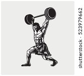 strong bodybuilder sportsman... | Shutterstock .eps vector #523979662