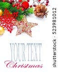 christmas and new year... | Shutterstock . vector #523981012