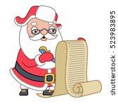 santa claus checking a list ...   Shutterstock .eps vector #523983895