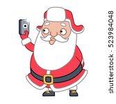 santa claus taking a selfie on... | Shutterstock .eps vector #523984048