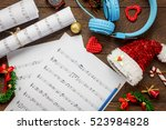 top view christmas background... | Shutterstock . vector #523984828