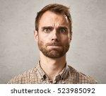 scared man face. | Shutterstock . vector #523985092