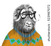 funny muskox with shaggy hair... | Shutterstock . vector #523987072