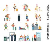 flat family with children... | Shutterstock .eps vector #523988002