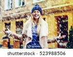 young beautiful happy smiling... | Shutterstock . vector #523988506