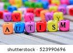 autism word on wooden table | Shutterstock . vector #523990696