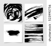 set of four black ink brushes... | Shutterstock .eps vector #523990756