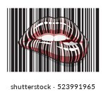 barcode strip lips makeup of... | Shutterstock .eps vector #523991965