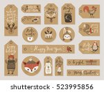 christmas kraft paper cards and ... | Shutterstock .eps vector #523995856