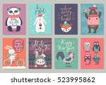 christmas animals card set ... | Shutterstock .eps vector #523995862