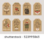 christmas kraft paper cards and ... | Shutterstock .eps vector #523995865