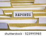 reports word on card index paper | Shutterstock . vector #523995985