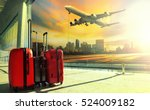 traveling luggage in airport... | Shutterstock . vector #524009182