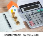 house model and coin on bank... | Shutterstock . vector #524012638