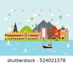 poland famous landmarks... | Shutterstock .eps vector #524021578