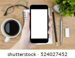 hand holding smartphone with... | Shutterstock . vector #524027452