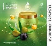 realistic collagen cream bottle ...   Shutterstock .eps vector #524034766