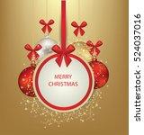 christmas greeting card. vector ... | Shutterstock .eps vector #524037016