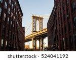 manhattan bridge at sunset  new ... | Shutterstock . vector #524041192