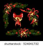 christmas decorations with fir... | Shutterstock .eps vector #524041732