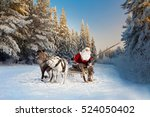 santa claus and his reindeer in ... | Shutterstock . vector #524050402