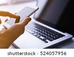 woman's hands using mobile... | Shutterstock . vector #524057956