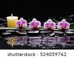 Four Orchid With Candle On...