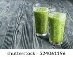 fresh green smoothie from fruit ... | Shutterstock . vector #524061196