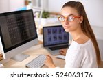 fashion designers working in... | Shutterstock . vector #524063176