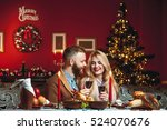 beautiful couple in a decorated ... | Shutterstock . vector #524070676