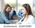 portrait of call center worker... | Shutterstock . vector #524073985