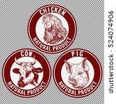 animals set  cow  pig  chicken...   Shutterstock .eps vector #524074906