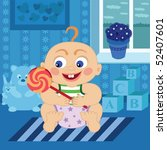 baby with sugar candy | Shutterstock .eps vector #52407601