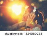 selective focus of eyebrow.... | Shutterstock . vector #524080285