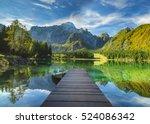 mountain lake laghi di fusine... | Shutterstock . vector #524086342